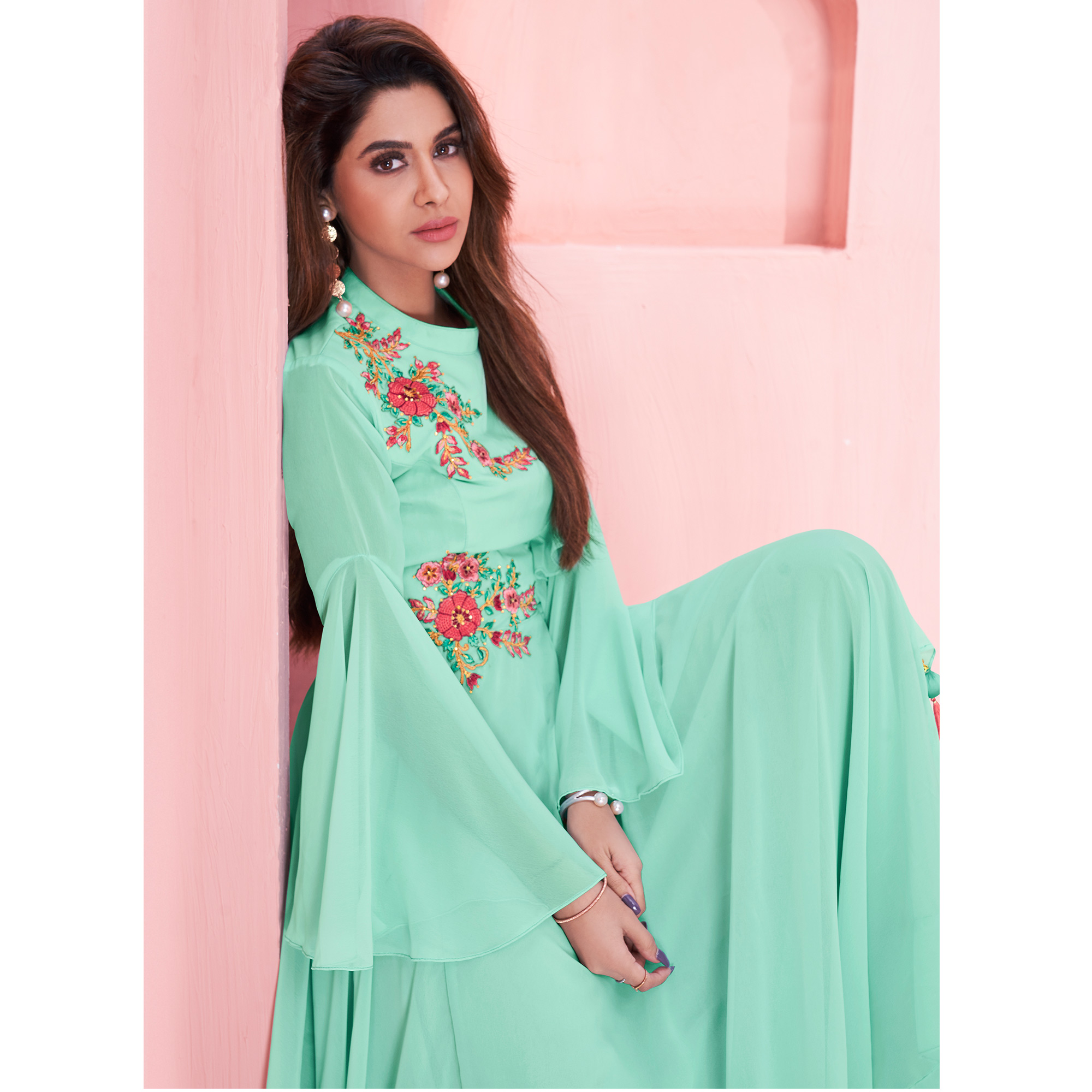Magnetic Aqua Blue Colored Partywear Embroidered Georgette Gown