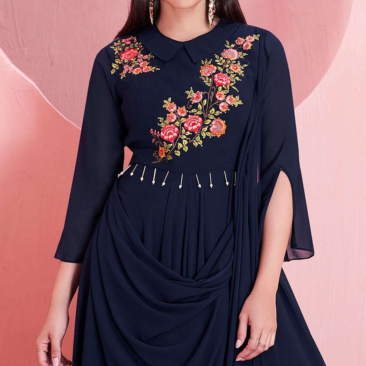 Hypnotic Navy Blue Colored Partywear Embroidered Georgette Gown