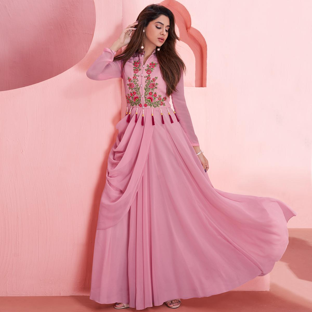 Flattering Pink Colored Partywear Embroidered Georgette Gown