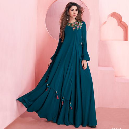 Excellent Teal Blue Colored Partywear Embroidered Georgette Gown