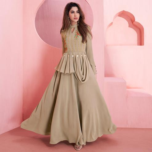 Preferable Beige Colored Partywear Embroidered Georgette Gown