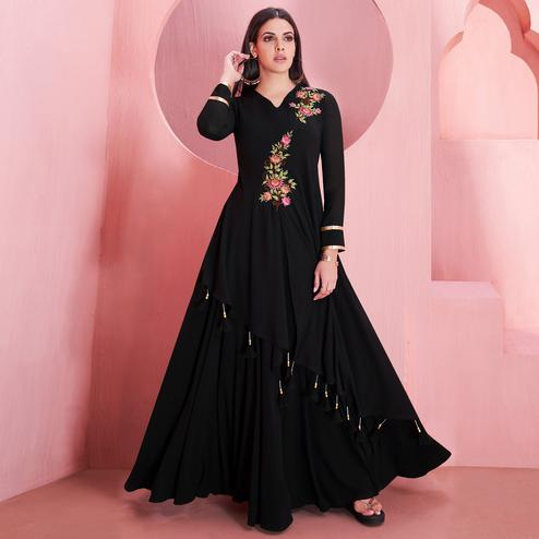 Marvellous Black Colored Partywear Embroidered Georgette Gown