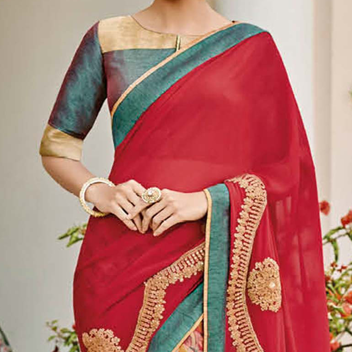 Red - Multicolor Georgette Printed Saree