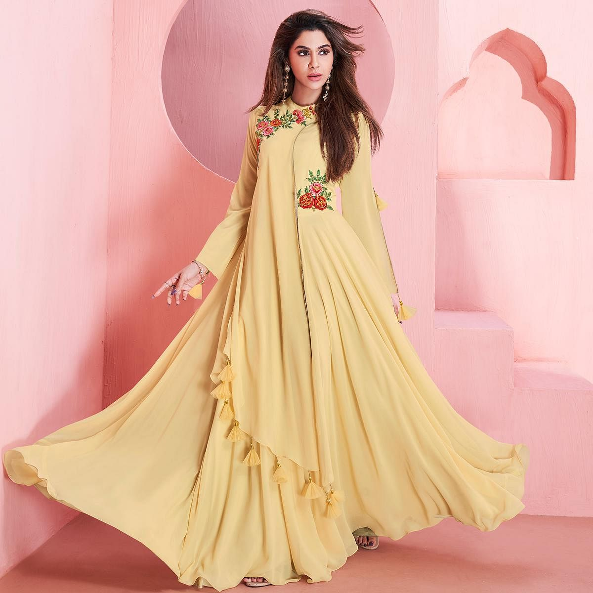 Flamboyant Light Yellow Colored Partywear Embroidered Georgette Gown