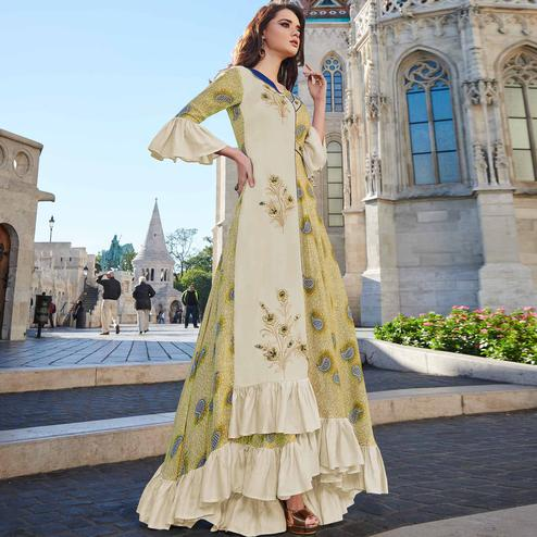 Breathtaking Beige-Green Colored Partywear Printed Rayon Kurti