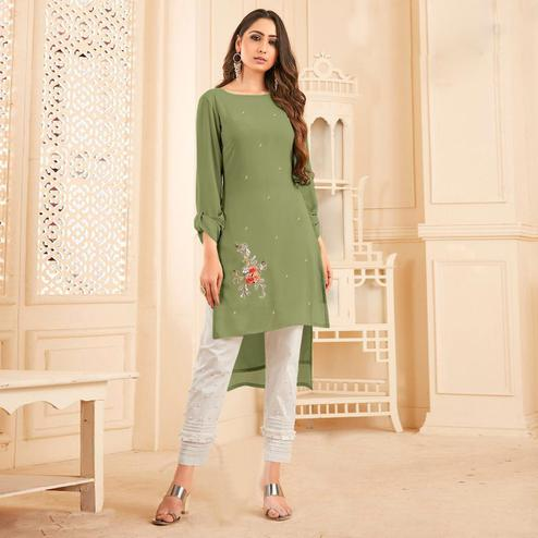 Surpassing Olive Green Colored Partywear Floral Embroidered Georgette Kurti-Bottom Set