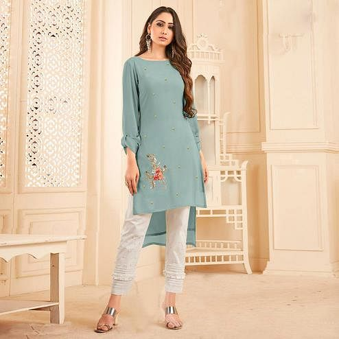 Dazzling Light Blue Colored Partywear Floral Embroidered Georgette Kurti-Bottom Set
