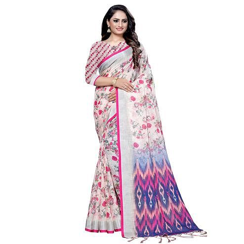 Energetic White-Pink Colored Casual Digital Printed Linen Saree
