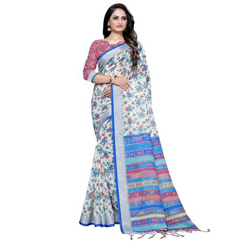 Opulent White-Light Blue Colored Casual Digital Printed Linen Saree
