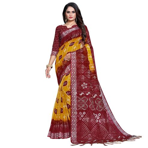 Pleasant Yellow-Red Colored Casual Bandhani Printed Pure Linen Saree