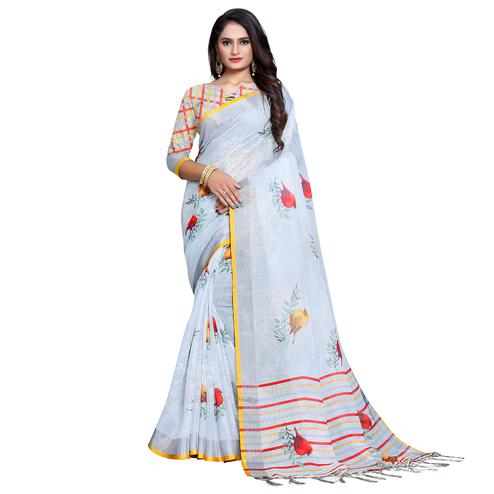 Radiant Pastel Blue Colored Casual Printed Pure Linen Saree