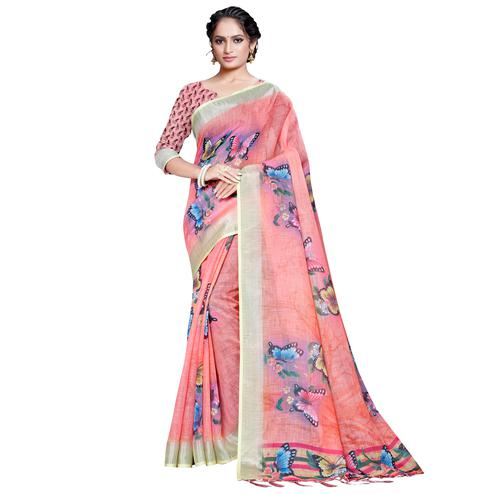 Elegant Peach Colored Casual Printed Pure Linen Saree