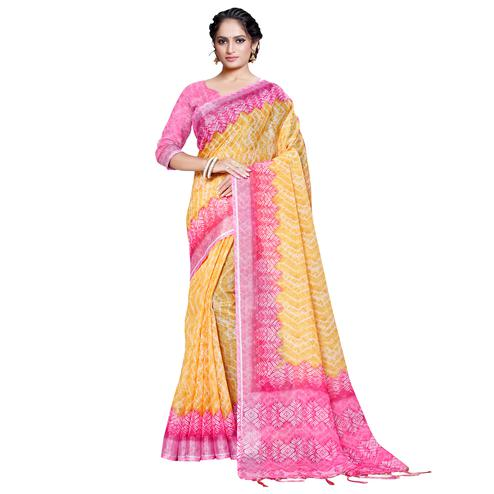 Trendy Yellow Colored Casual Printed Pure Linen Saree
