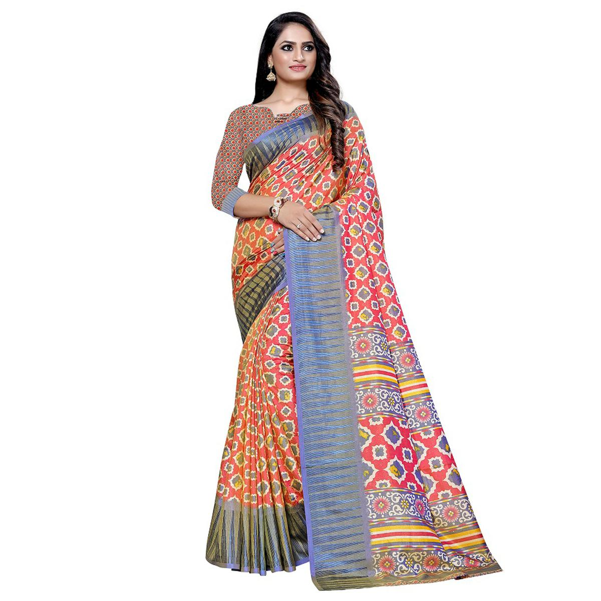 Glorious Pink Colored Casual Printed Art Silk Saree