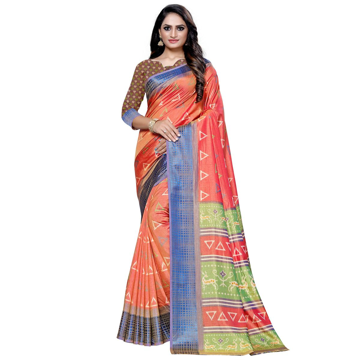 Graceful Pink Colored Casual Printed Art Silk Saree