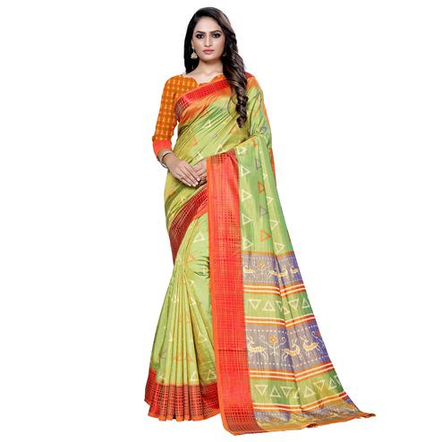 Charming Green Colored Casual Printed Art Silk Saree