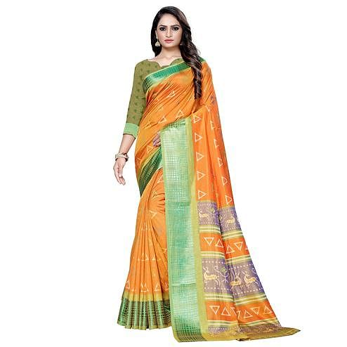Jazzy Orange Colored Casual Printed Art Silk Saree