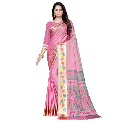 Eye-catching Pink Color Casual Printed Art Silk Saree