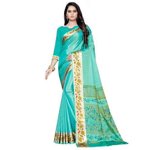 Fantastic Aqua Green Colored Casual Printed Art Silk Saree