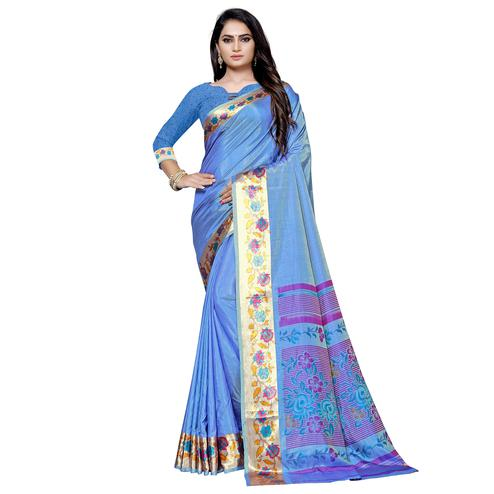 Amazing Blue Colored Casual Printed Art Silk Saree