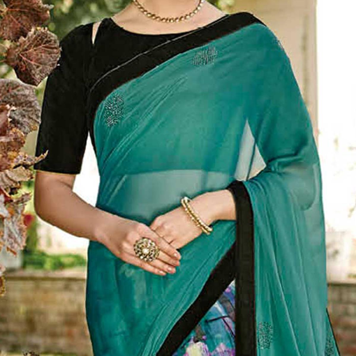 Turquoise Two Tone Chiffon Printed Saree
