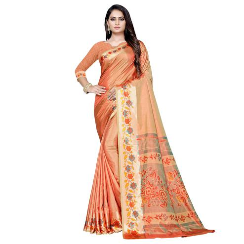 Gorgeous Orange Colored Casual Printed Art Silk Saree