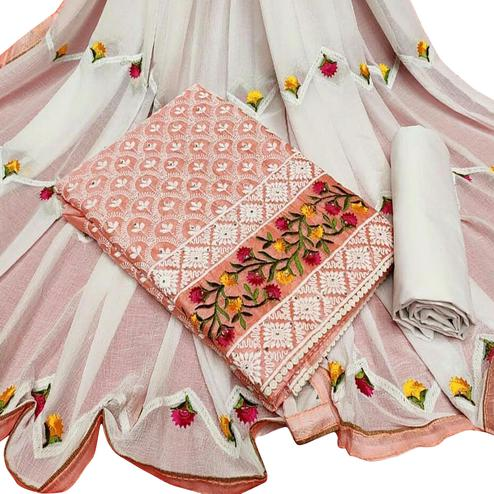 Sophisticated Peach Colored Partywear Embroidered Chanderi Silk Dress Material