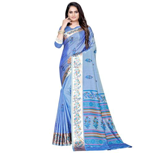 Blissful Blue Colored Casual Printed Art Silk Saree