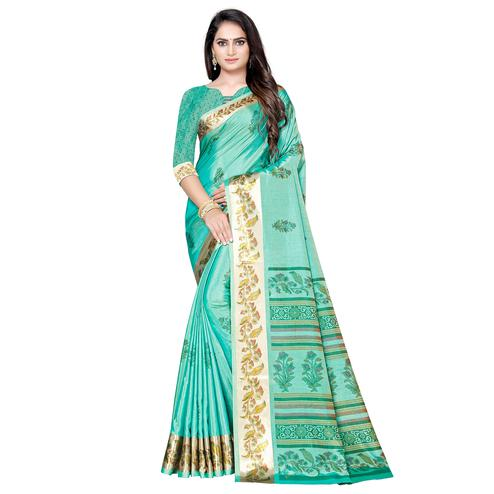 Ideal Turquoise Green Colored Casual Printed Art Silk Saree