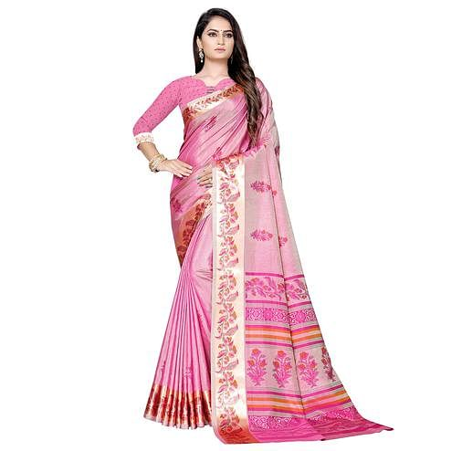 Imposing Pink Colored Casual Printed Art Silk Saree