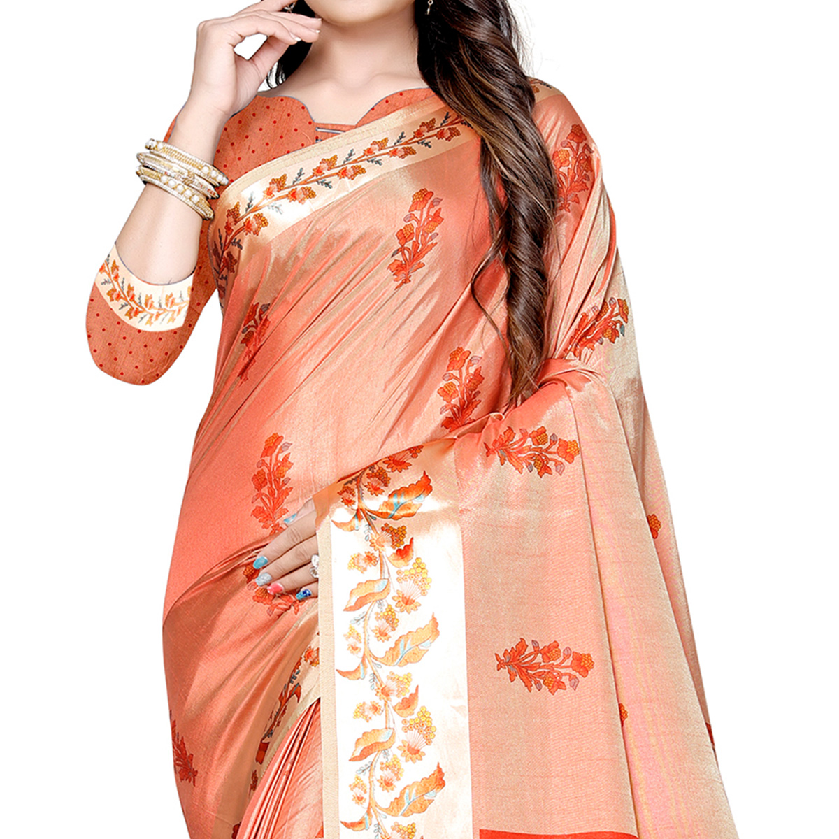 Lovely Peach Colored Casual Printed Art Silk Saree