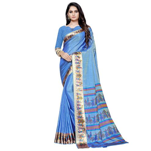 Majesty Blue Colored Casual Printed Art Silk Saree