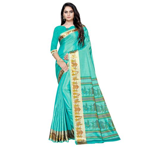 Impressive Turquoise Green Colored Casual Printed Art Silk Saree