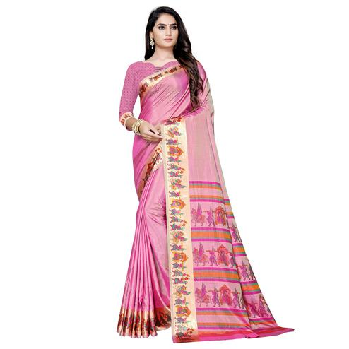 Mesmerising Pink Colored Casual Printed Art Silk Saree