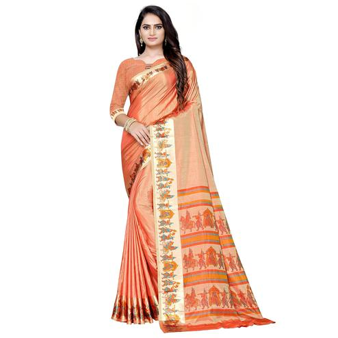 Pleasance Peach Colored Casual Printed Art Silk Saree