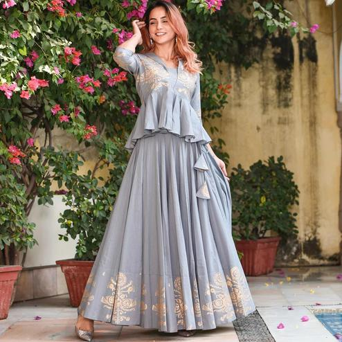 Entrancing Grey Colored Partywear Foil Printed Rayon Lehenga Choli