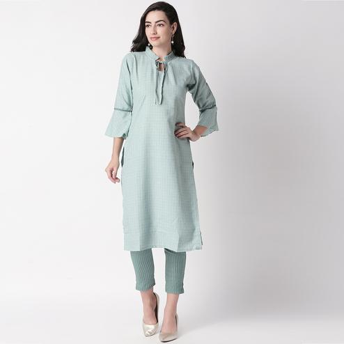 Classy Teal Blue Colored Casual Printed Cotton Kurti-Pant Set