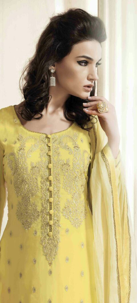 Yellow Georgette Suit