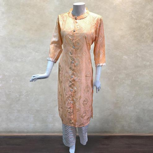 Elegant Peach Colored Casual Bandhani Printed Cotton Kurti-Palazzo Set