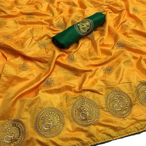 Preferable Yellow Colored Partywear Embroidered Art Silk Saree