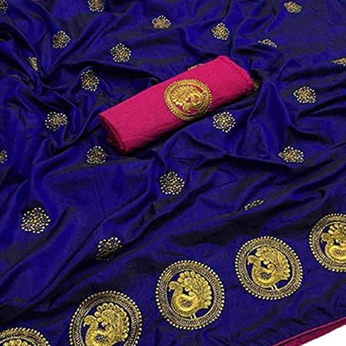 Marvellous Navy Blue Colored Partywear Embroidered Art Silk Saree
