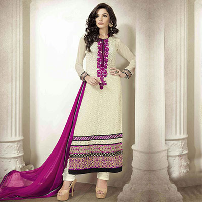 Cream Georgette Suit