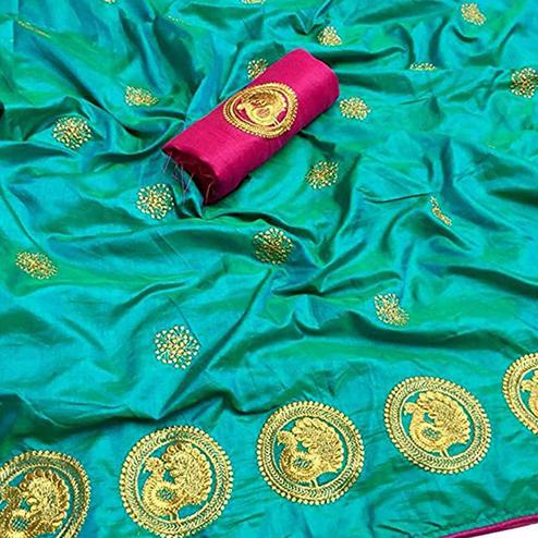 Alluring Aqua Green Colored Partywear Embroidered Art Silk Saree