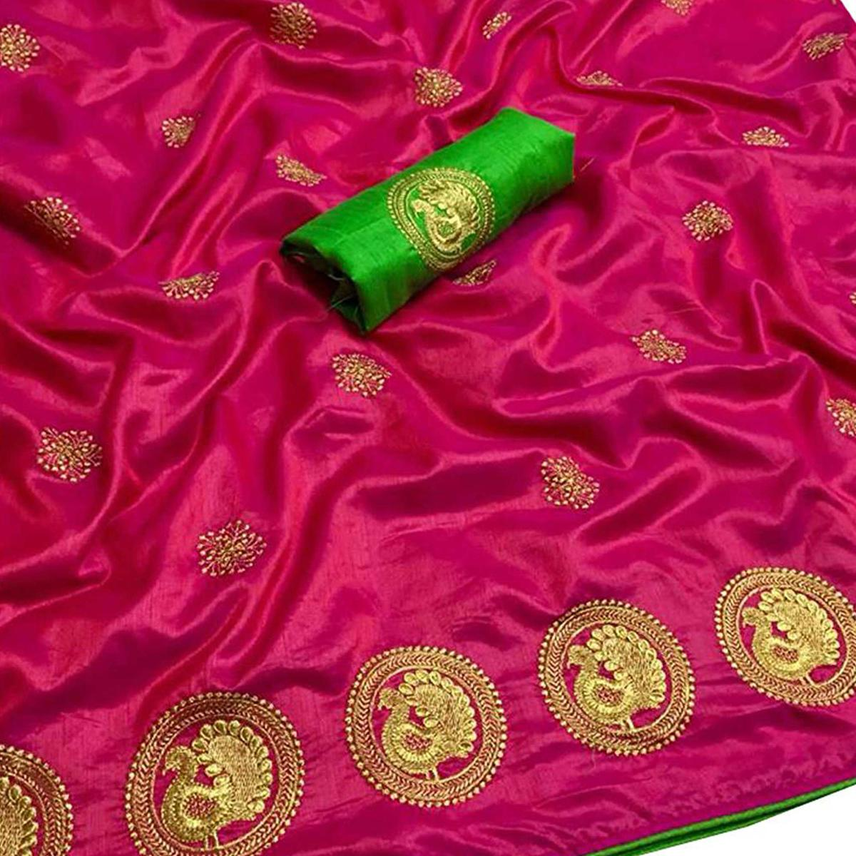 Flaunt Rani Pink Colored Partywear Embroidered Art Silk Saree