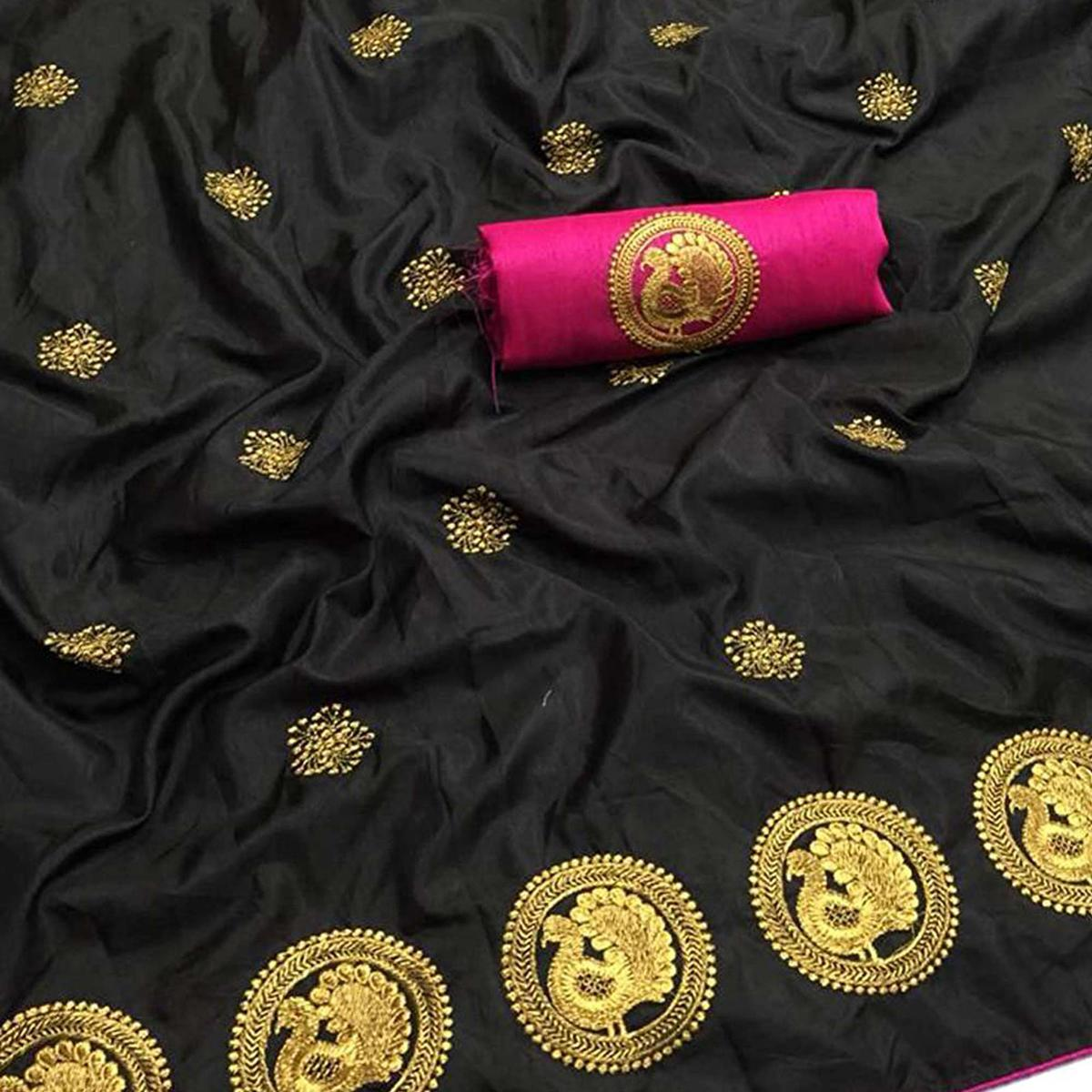 Stunning Black Colored Partywear Embroidered Art Silk Saree