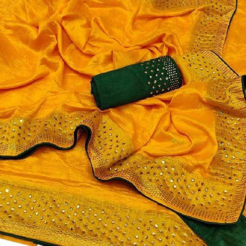Preferable Yellow Colored Partywear Zoya Silk Saree