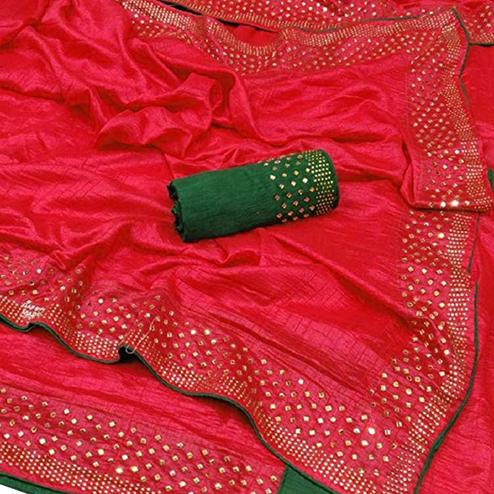 Alluring Red Colored Partywear Zoya Silk Saree