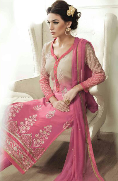 Tan - Pink Georgette Suit