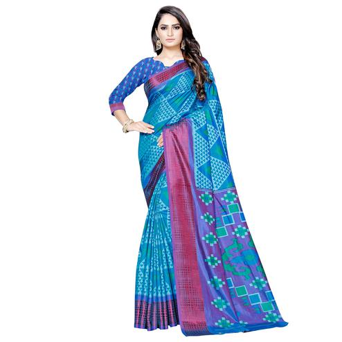 Fantastic Sky Blue Colored Casual Printed Art Silk Saree