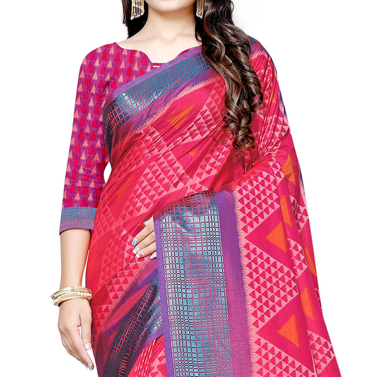 Amazing Pink Colored Casual Printed Art Silk Saree